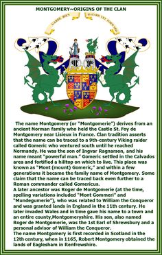 A history of clan Montgomery. The traditions and heritage of the Montgomery family. Find Montgomery tartans and clan insignia here. Clan Macdonald, Le Clan, Family Information, William The Conqueror, Mary Queen Of Scots, My Family History, Scottish Clans, Picture Story, Family Genealogy