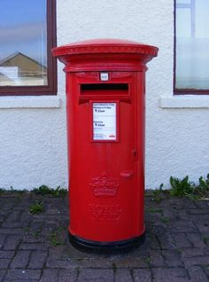Post box at the most northerly Post Office in the UK - Baltasound, Unst, Shetland Isles. July 2013. Sent by www.elizabethskitchendiary.co.uk