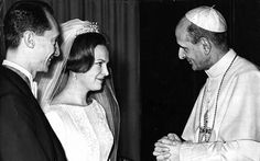 Prince Hugo and his bride being introduced to Pope Paul VI after their wedding in Rome