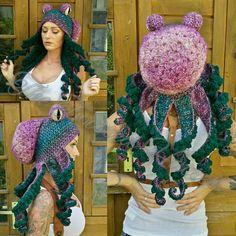 Crochet floral octopus hat