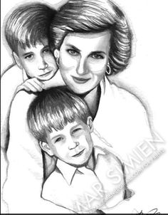 A pencil drawing of Diana and her boys