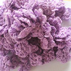 purple  flowers crochet 2 cm  20 pcs/50 pcs /100 by TheThailand
