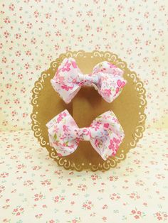 Handmade Boutique Ribbon Hair Bow Floral Small French Clip Set of 2pcs # SF003 #Unbranded