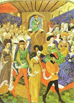A 15th century painting showing scenes from the Burgundian court