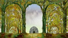 During this shot in The Secret of Kells the characters pass by the archways and the seasons change.  Such a creative way to do a time lapse.