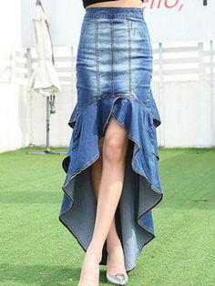 Éblouissante jupe sexy en denim bleu unicolore devant court et derrière long multicouche