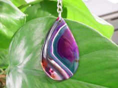 Striped agate keyring. Multicoloured stone. Keychain. Stainless steel chain and ring.  Purple and teal.  Unique. Unusual. Christmas gift.