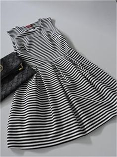 İnce Yatay Çizgili Elbise | Modelleri ve Uygun Fiyat Avantajıyla | Modabenle