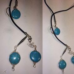 Black Leather Bolo/ Lariat with Turquoise and Tibetan Silver $23 PayPal.me/pmiddleton FREE SHIPPING