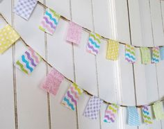 Pastel fabric Easter Flag garland. Mini Party banner decoration. Photo Prop.. $13.00, via Etsy.