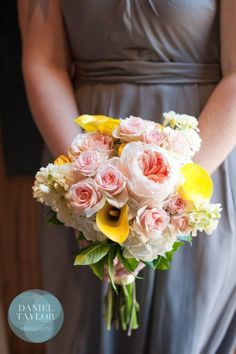 Yellow, white and pink bridesmaid bouquet from HotHouse Design Studio. Daniel Taylor Photography