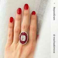 Glenn Spiro 4 Cts diamond and ruby baguette ring