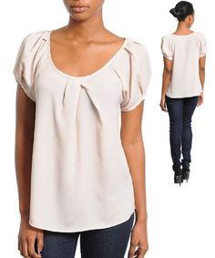 G2 Fashion Square Scoop Neck Solid Pleated Casual Top $17.96