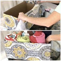s 32 space saving storage ideas that ll keep your home organized, Organize your linen closet with a diaper box Linen Closet Organization, Closet Storage, Diy Organization, Organizing Ideas, Household Organization, Space Saving Storage, Storage Spaces, Storage Ideas, Cheap Storage