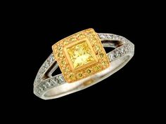 Princess Yellow Diamond Ring