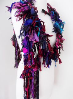 Black Grey Burgundy Ruby Midnight Blue Teal Pink Black Recycled Silk Ribbon Scarf