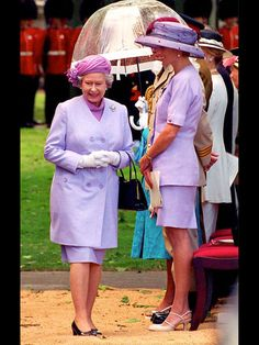 Though Diana would divorce Charles only two years later, in 1994 she and the Queen presented a unified front at a London event, both wearing pretty lilac skirt suits with coordinating over-the-top toppers.