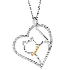 CAT LOVER'S DIAMOND HEART NECKLACE, STERLING SILVER AND 10K YELLOW GOLD NECKLACE, 18″ WITH CHARM PET COLLAR TAG GREAT VALENTINE'S DAY GIFT