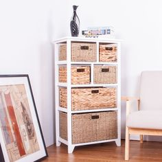 White Wooden Storage Unit Cabinet With 6 Mixed Baskets Drawers Functional