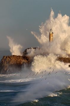 *LIghthouse - Mouro Island in Santander, Cantabria (by Marina Cano)