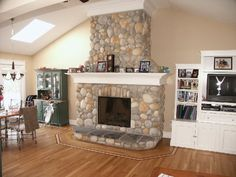 River Rock Fireplace Remodels Google Search FIREPLACES