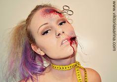 Halloween MakeUp: Injured Dressmaker {scissors, tailor, tape, injury} - bloody make up #DIY