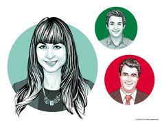 Portrait-Illustrationen für die CreditPlus Bank AG  by Eva-Maria Birkhoff