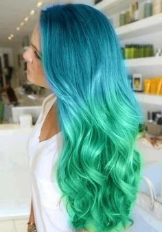 Ombre Teal Blue to Light Neon Green