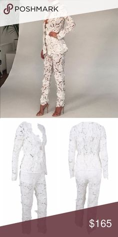 Lace floral 2 piece jumpsuit Very unique! Long pants version to formal cutout romper.. For bridal parties, weddings, birthdays, etc. missguided used for exposure..  AVAILABLE IN BLACK AND WHITE Missguided Pants Jumpsuits & Rompers