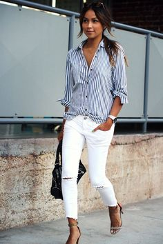 How to Wear Ripped White Jeans