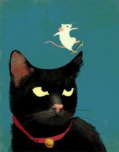 Untitled (skateboarding mouse) by artist and illustrator Eva Vázquez. via RappArt