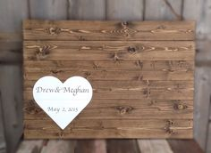Rustic Wood, Rustic Guest Book, Wood Guest Book, Personalized, Guest book Sign, Guest Book With First names and date Sign measures 30X20 by SimplymadesignsbyB on Etsy