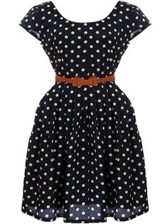 Retro Rockabilly Dress: Features a clean scoop neckline framed by charming cap sleeves, brilliant white polka dot print throughout, skinny bow-tie belt at waist, edgy exposed rear zipper, and a pleated twirl-worthy A-line skirt to finish.