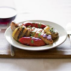 Grilled Salmon with Sweet Onions and Red Bell Peppers