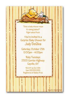 Just in case i need to plan a baby shower in the next year or so.Pooh and Piglet on log Party Invitations, Pooh and Piglet Baby Shower Invitations at TCW Designs Disney Invitations, Baby Shower Invitations, Birthday Invitations, Invites, Baby Shower Parties, Baby Shower Themes, Shower Ideas, Baby Showers, Baby Shower
