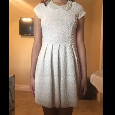 Daytime white dress. Skater dress/ daytime dress. Only been worn once! Perfect to match with heels or boots! Modest length w pearl collar. Very comfy cotton. Agaci Dresses