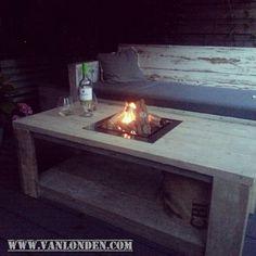 Vuurtafel op gas van steigerhout