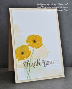 Stampin' Up ideas and supplies from Vicky at Crafting Clare's Paper Moments: Happy Watercolour poppies