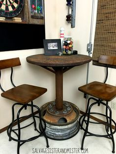 Industrial bar table built of salvaged materials by Salvage Sister and Mister featured on @Remodelaholic