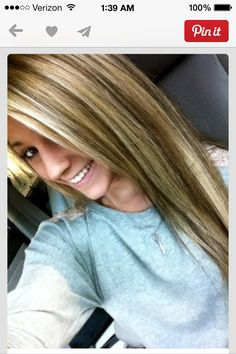 Brown hair with blond highlights! I want my hair done like this(:!