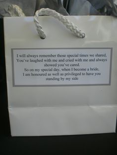 (pic 4 of 4) Bridesmaid Wedding Survival Kit Thankyou Gift & Card | eBay -Thankyou card is blank on the inside so you can add your own personal message.There is also a label attached to the back of the bag with a sweet message as well. The Back label reads: I will always remember those special times we shared, You've laughed with me and cried with me and always showed you've cared. So on my special day, when I become a bride, I am honoured as well as privileged to have you standing by my…