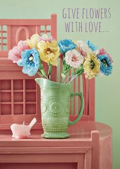 That ceramic vase is gorgeous and I love the colours in this image! Bold colour in the home (image RICE DK via HeartHandmadeUK) Arch Interior, Beautiful Flower Arrangements, Creative Home, Creative Ideas, Handmade Home, Cheap Home Decor, Wedding Tips, Country Decor, House Colors