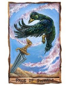 Tarot Card Art Page of Swords Artwork Cayuga Duck by rainbowofcrazy, $17.50