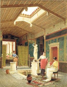 Another thing the Romans could do for us: an impluvium in Pompeii by Luigi Bazzani, 1882  Photo: DAHESH MUSEUM OF ART / THE BRIDGEMAN ART LIBRARY