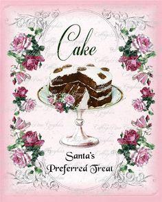 Pink Christmas Cake santas preferred treat Large digital download ECS buy 3 get one free shared via Saturday's Seller Showcase @ Cinnamon Rose Cottage Blog http://cinnamonrosecottage.blogspot.com/2013/11/saturdays-seller-showcase-at-cinnamon.html