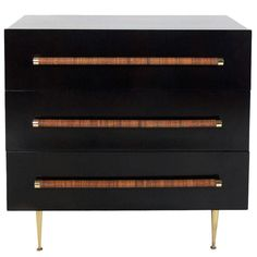 Modern Chest with Reed Wrapped Handles by T.H. Robsjohn-Gibbings | From a unique collection of antique and modern commodes and chests of drawers at http://www.1stdibs.com/furniture/storage-case-pieces/commodes-chests-of-drawers/