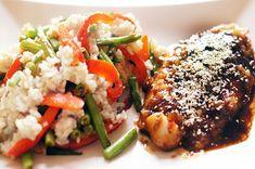"""Pangasiusfilet met """"een Aziatisch dakje"""" en gebakken rijst met sperziebonen en rode paprika"""