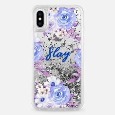 Casetify iPhone X Liquid Glitter Case - Floral case Slay by Priyanka Chanda