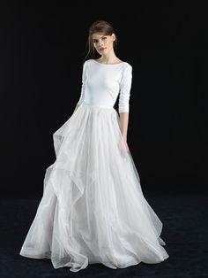 jersey bodysuit and silk organza skirt bridal gown