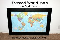 I glued a map to cork board and then framed it. We used push pins to ...